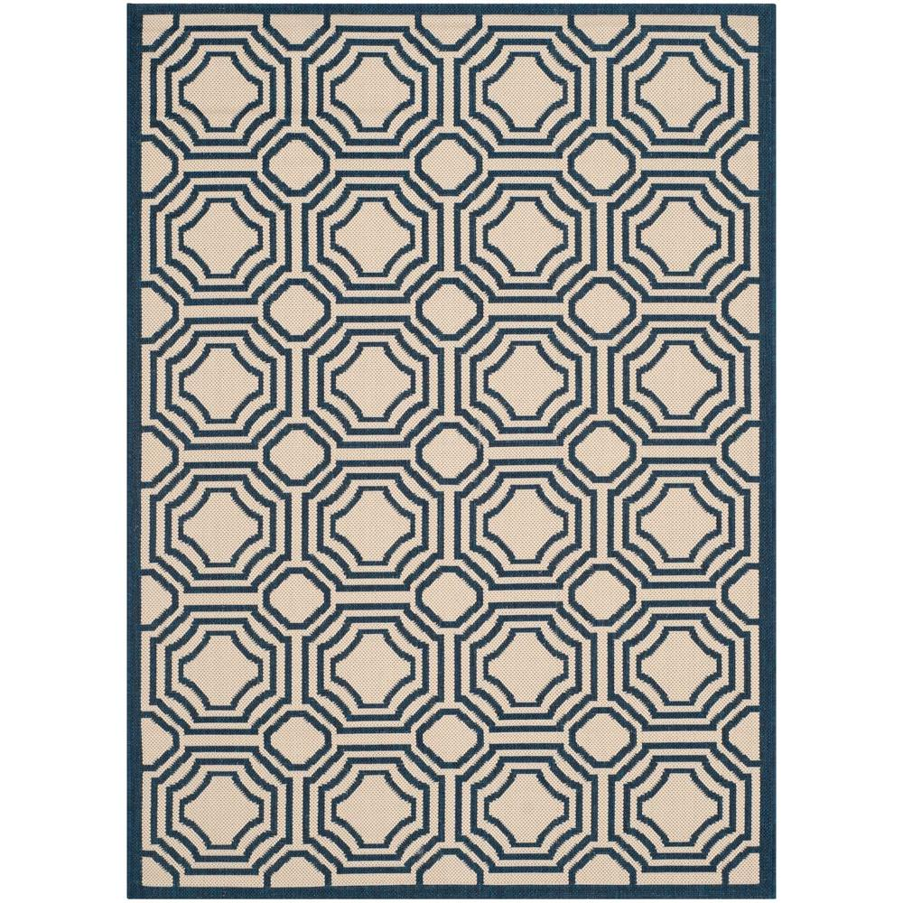 Courtyard Beige/Navy 4 ft. x 5 ft. 7 in. Indoor/Outdoor Area