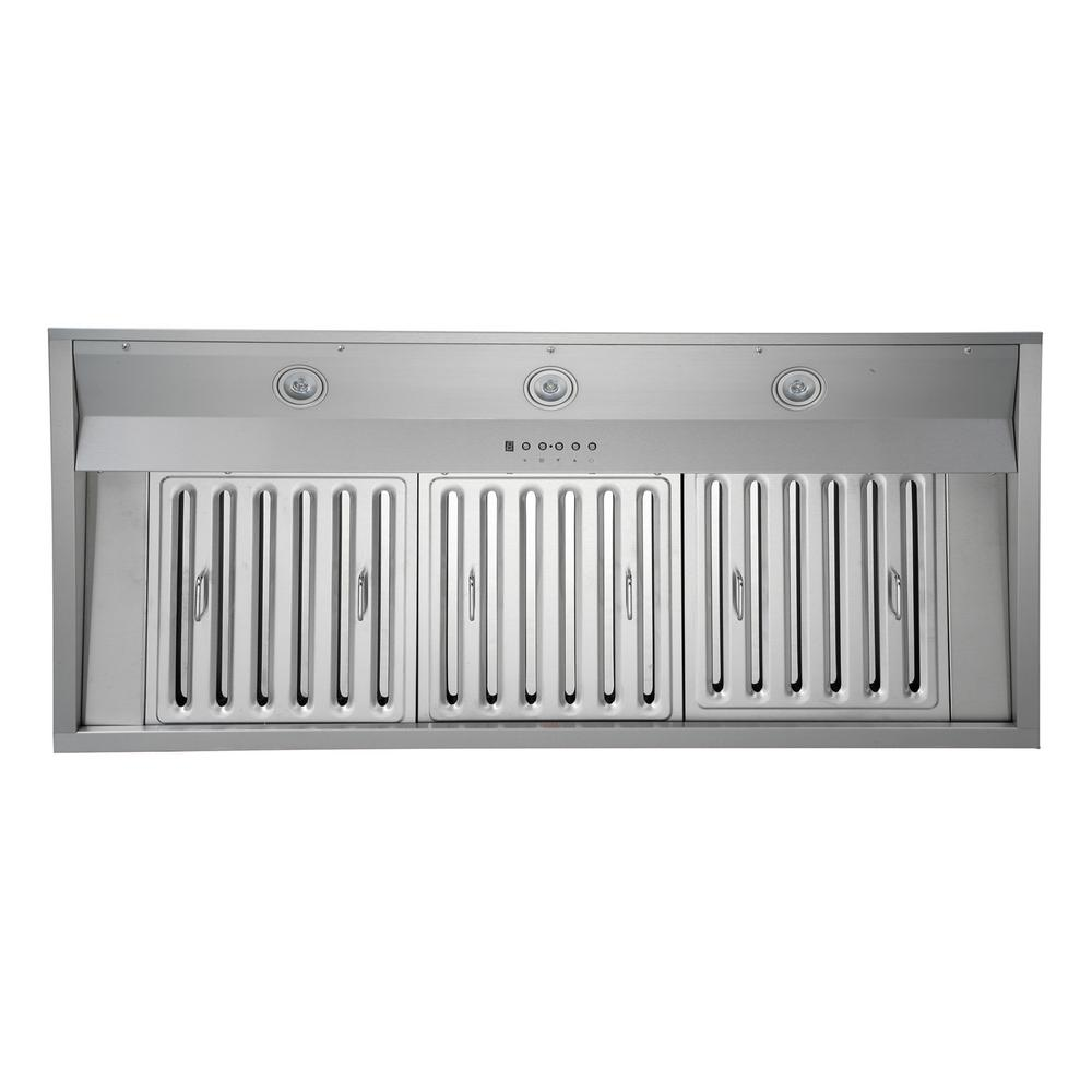 KOBE Range Hoods 1200 CFM 48 in. Wide Built-In/Insert Range Hood in Stainless Steel with QuietMode, Silver KOBE IN2648SQB-1200-1 is part of our Premium Collection. Professionally handcrafted with 18-Gauge commercial grade stainless steel. This 48 in. Built-In/Insert Range Hood is the perfect fit to any customization project in your kitchen. Seamlessly fits in Custom Cabinetry or Custom Hoods with approximately 48 in. of width. Durable and unrivaled in quality and performance it is equipped with 6-speed electronic push buttons, dishwasher safe baffle filters and LED Lights. This powerful hood has dual blowers producing a total of 1200 CFM. Still equipped with QuietMode and EcoMode to produce an optimal level of soft noise to refresh your home constantly. QuietMode, the industrys first operational mode to allow for low noise while running the Range Hood to constantly refresh and remove the air of impurities.