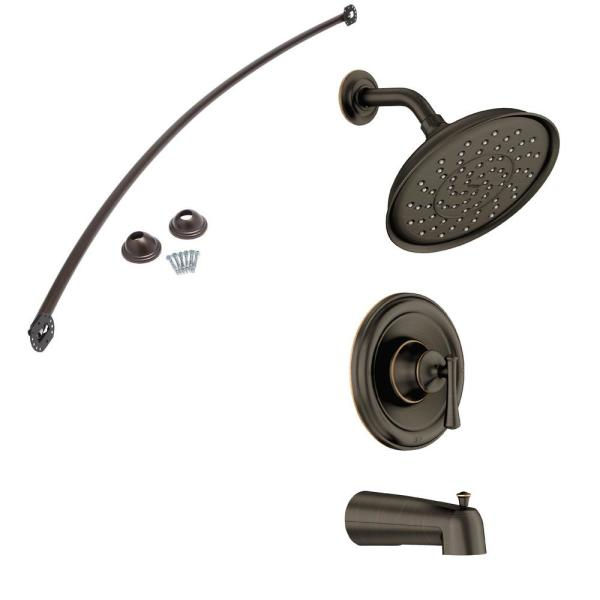 Ashville Single-Handle 1-Spray Tub and Shower Faucet with Curved Shower Rod and Valve in Mediterranean Bronze