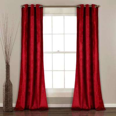 "Prima Velvet Solid Window Panels Red 84"" x 38"" 2-Pc Set 100% Polyester"
