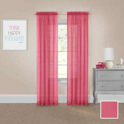 Victoria Voile 84 in. L Polyester Rod Pocket Drapery Panel Pair in Pink