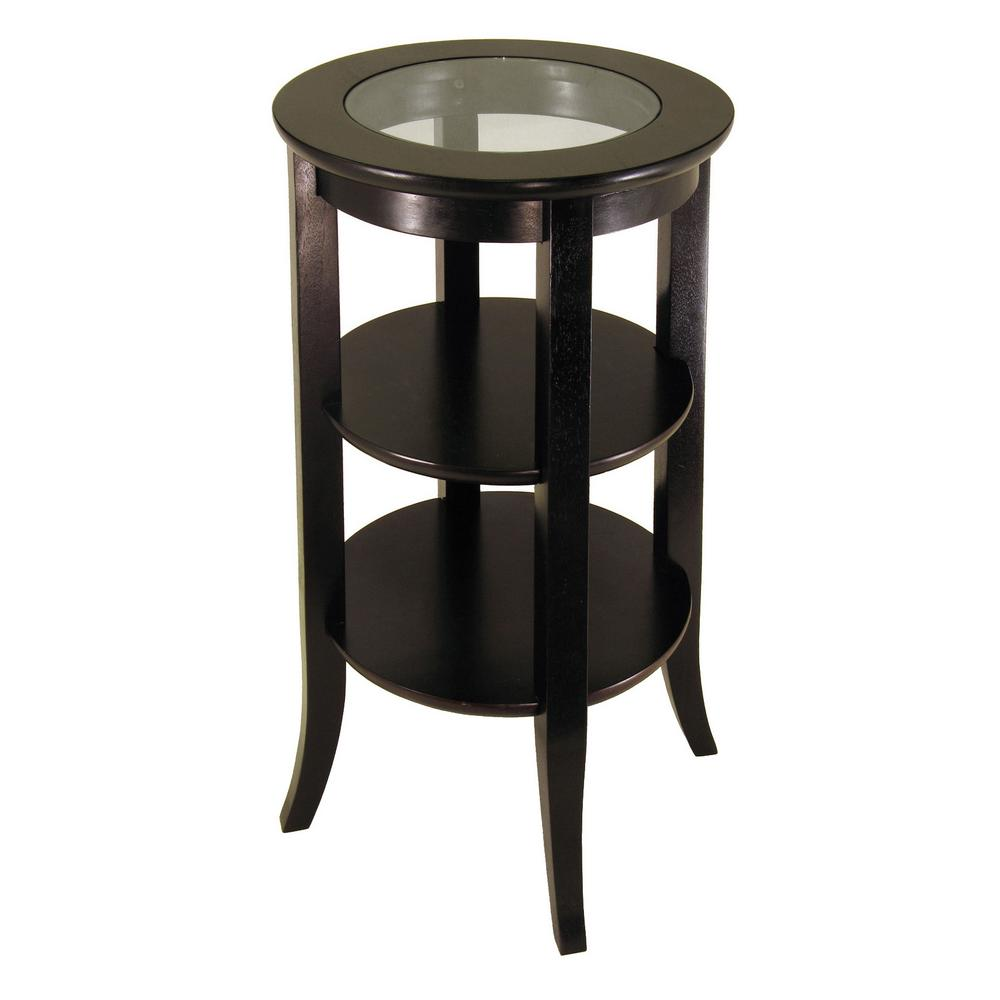 winsome wood genoa espresso glass top end table 92318 the home depot. Black Bedroom Furniture Sets. Home Design Ideas