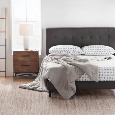 Cara Upholstered Platform Bed Frame with Square Tufted Headboard- King, Charcoal