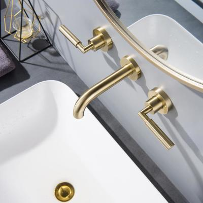 Modern 2-Handle 3-Hole Brass Wall Mounted Bathroom Faucet in Brushed Gold