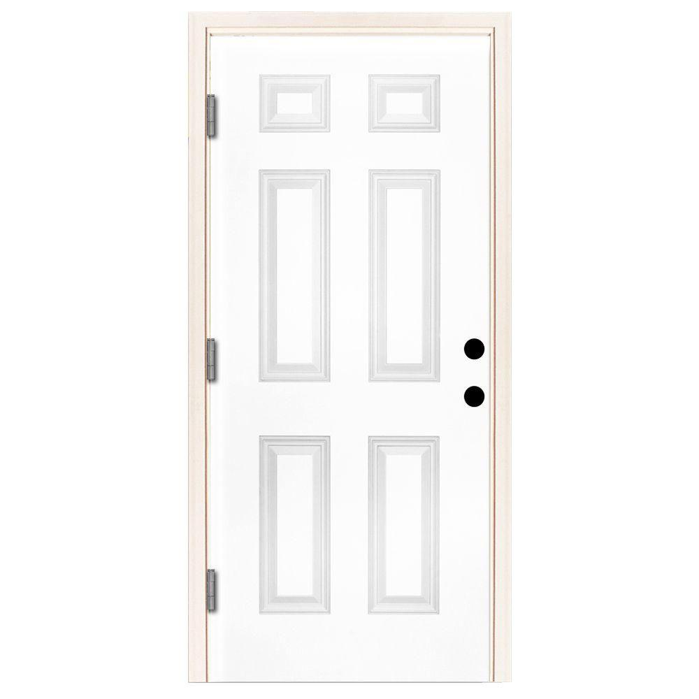 Steves sons 42 in x 80 in premium 6 panel primed white steel prehung front door st60 pr 36 36 x 80 outswing exterior door