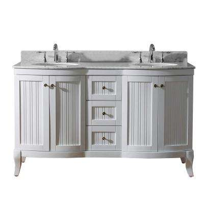 Khaleesi 61 in. W Bath Vanity in White with Marble Vanity Top in White with Round Basin