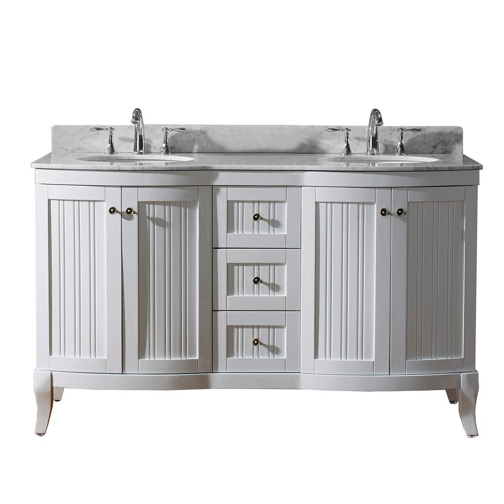 Khaleesi 61 in. W Bath Vanity in White with Marble Vanity