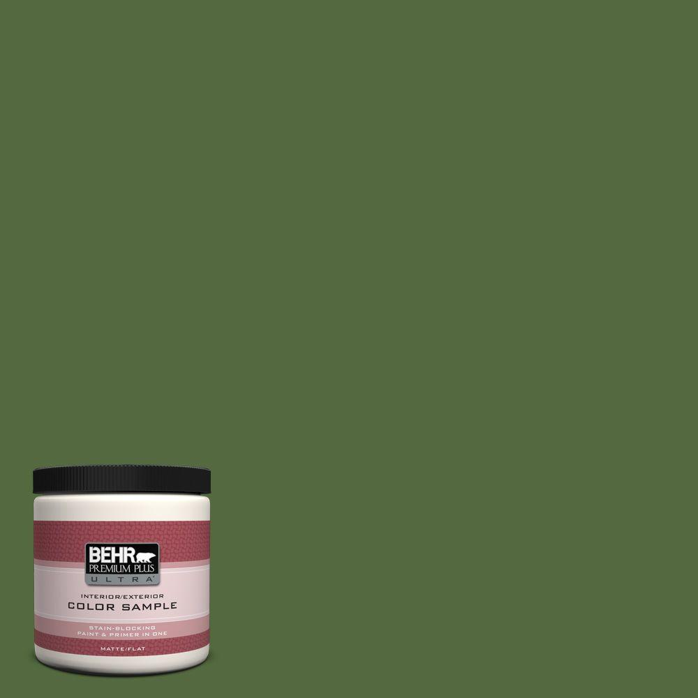 BEHR Premium Plus Ultra 8 oz. #M380-7 Alfalfa Extract Flat Interior/Exterior Paint and Primer in One Sample