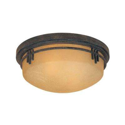 Mission Ridge 2-Light Warm Mahogany Flush Mounted Ceiling Light