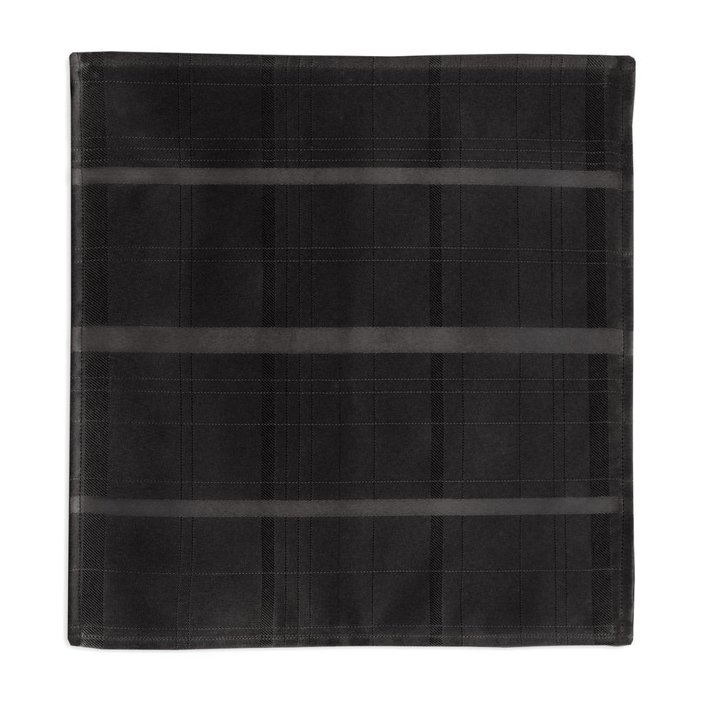 90 in. Round Black Elrene Elegance Plaid Damask Fabric Tablecloth