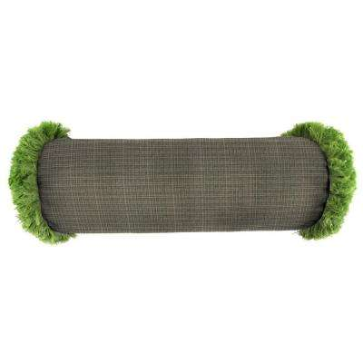 Sunbrella 7 in. x 20 in. Surge Charcoal Bolster Outdoor Pillow with Gingko Fringe