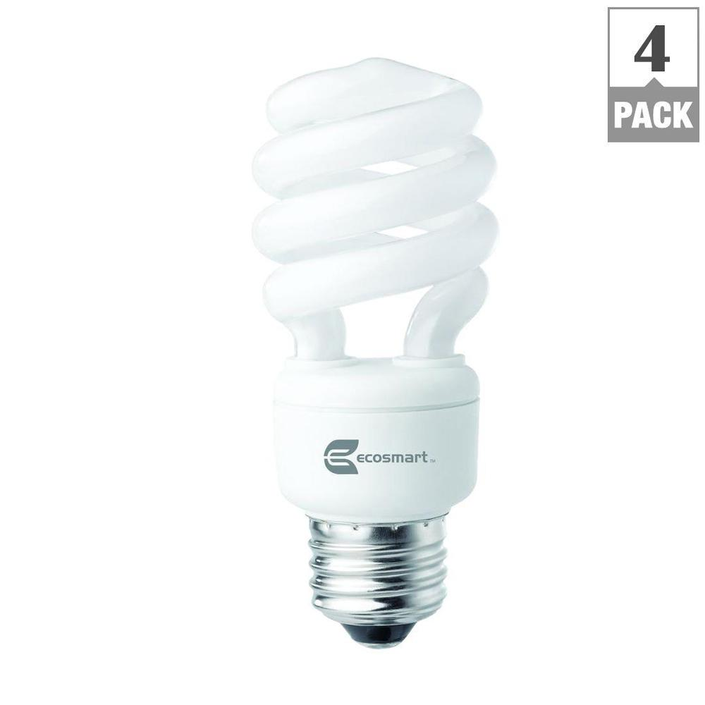 Ecosmart 60w Equivalent Soft White Spiral Cfl Light Bulb 4 Pack Esbm8144 The Home Depot