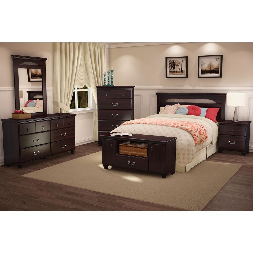 South shore noble 2 drawer nightstand in dark mahogany 3516060 the home depot