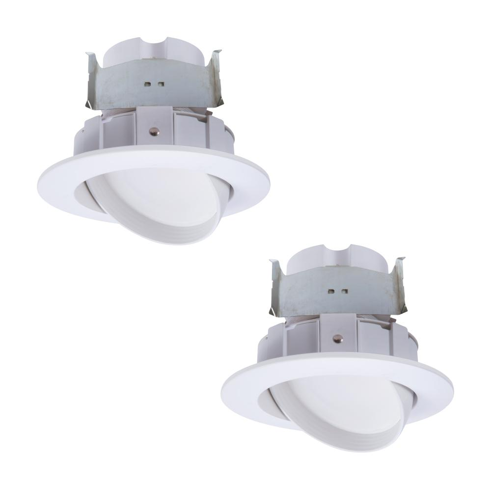 Halo 4 in. 2700K-5000K White Integrated LED Recessed Light Adjustable Gimbal Retrofit Trim with Selectable CCT (2-Pack)