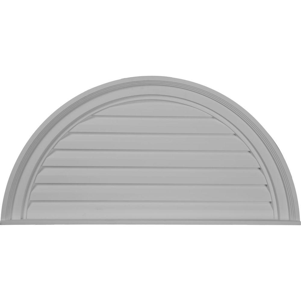 Ekena Millwork 2 in. x 32 in. x 16 in. Decorative Half Round Gable Louver Vent