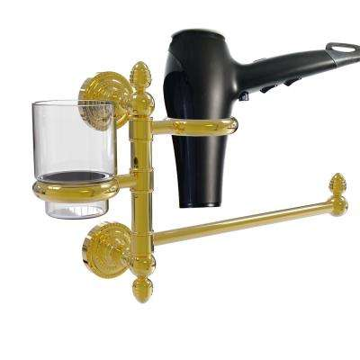Dottingham Collection Hair Dryer Holder and Organizer in Unlacquered Brass