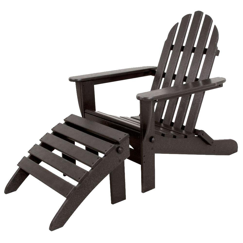 Ivy Terrace Classics Black 2 Piece Folding Plastic Adirondack Chair