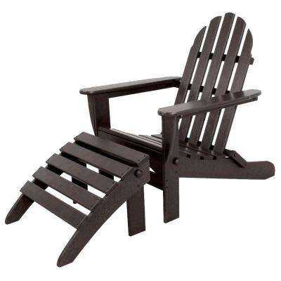 Classics Black 2-Piece Folding Plastic Adirondack Chair