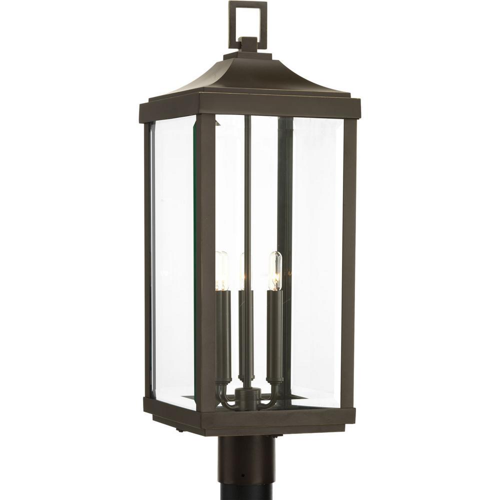 Gibbes Street Collection 3-Light Outdoor Antique Bronze Post Lantern