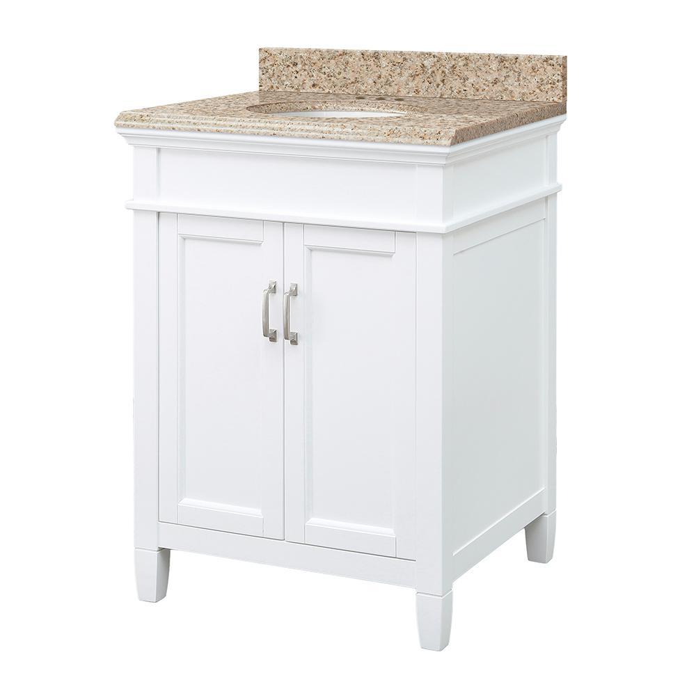 Ashburn 25 in. W x 22 in. D Vanity Cabinet in White with Granite Vanity Top in Beige with White Sink