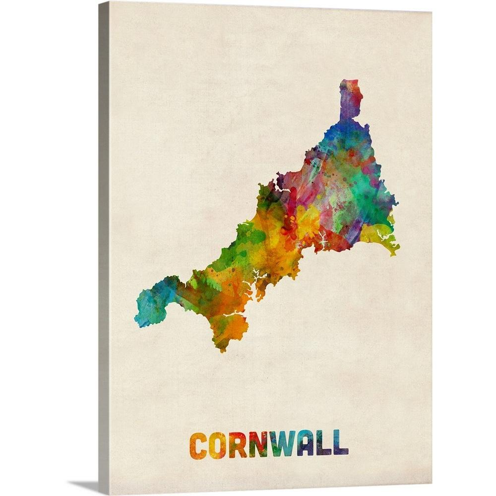 Greatbigcanvas 30 In X 40 In Cornwall England Watercolor Map By
