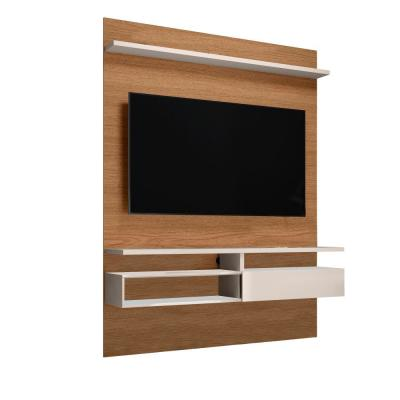 53 in. White and Brown Wall Mounted Entertainment TV Media Console with-Shelves Fits TV's up to 50 in.