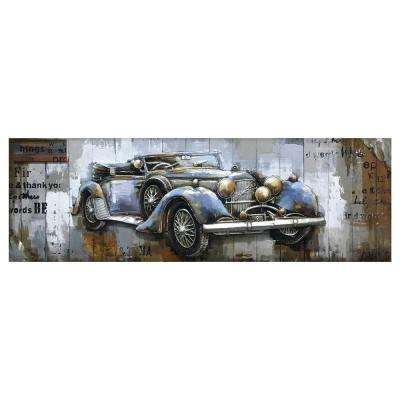 """Blue Vintage Car"" by Unknown Artist Wooden Wall Art"