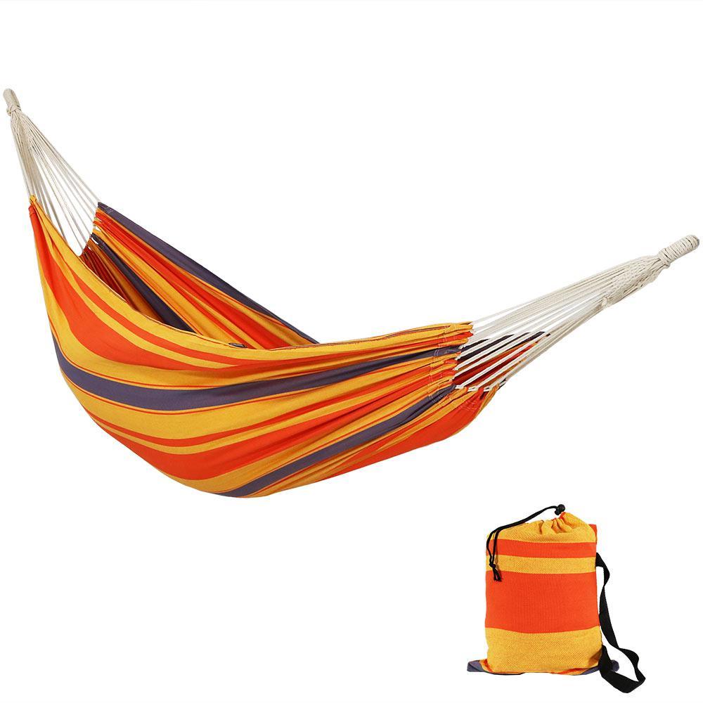 Premium 100% Natural Cotton 10 ft. Portable Fabric Double Brazilian Hammock in Summer Breeze