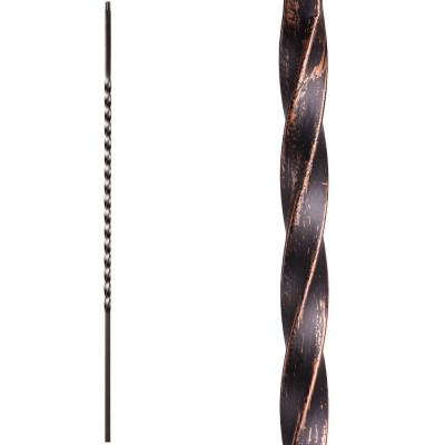 Twist and Basket 44 in. x 0.5 in. Oil Rubbed Bronze Long Single Twist Hollow Wrought Iron Baluster