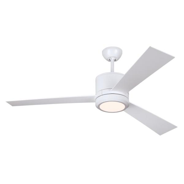Vision 52 in. Integrated LED Matte White Ceiling Fan with White Blades and Remote Control