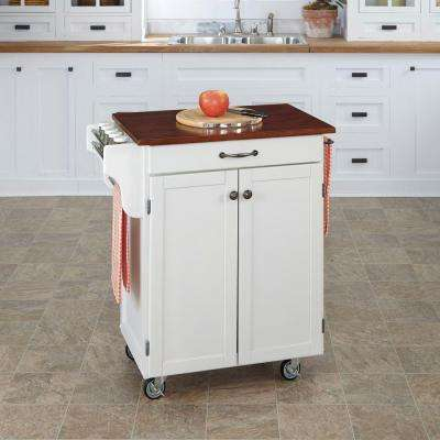 Cuisine Cart White Kitchen Cart With Cherry Top