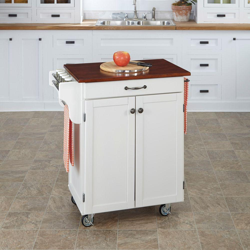 Amazing Home Styles Cuisine Cart White Kitchen Cart With Cherry Top
