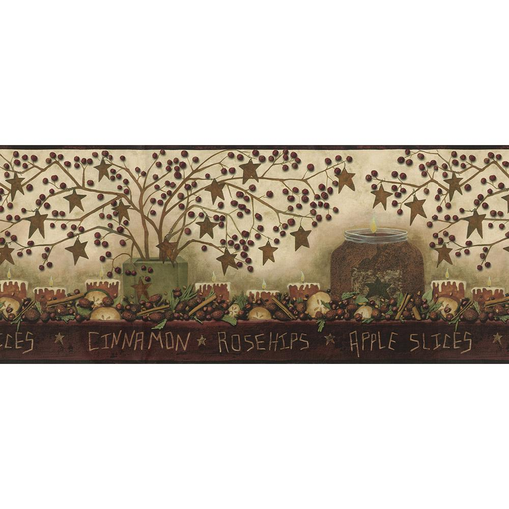 Danny Maroon Potpourri Trail Wallpaper Border Sample