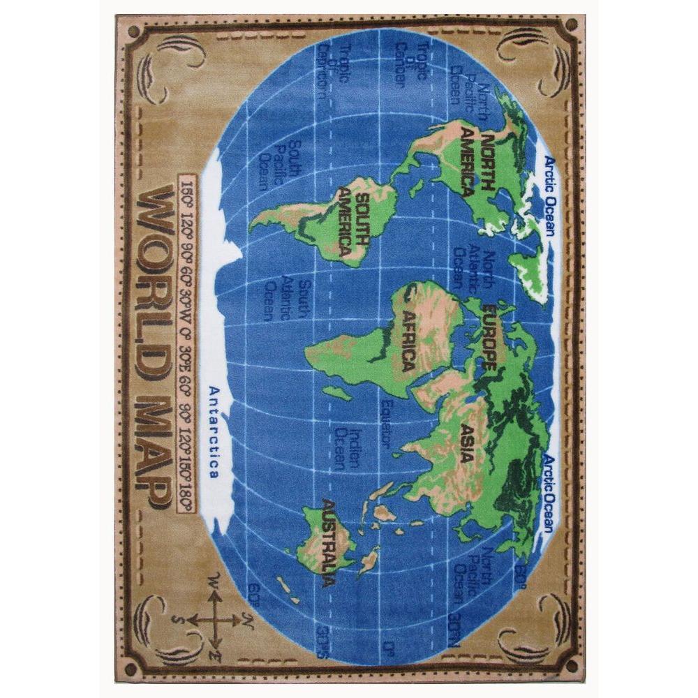 LA Rug Supreme World Map Multi Colored 5 ft  x 8 ft  Area Rug