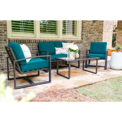 Jasper 4-Piece Aluminum Patio Conversation Set with Peacock Cushions
