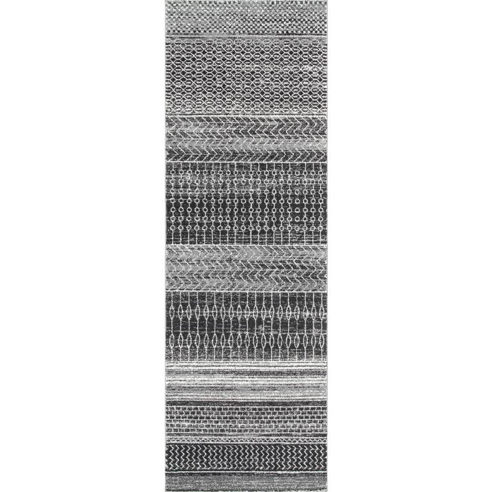 Nova Stripes Dark Grey 3 ft. x 8 ft. Runner Rug