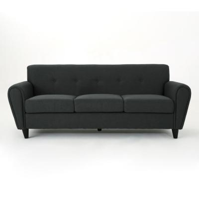 78.5 in. Dark Gray Polyester 3-Seater Lawson Sofa with Round Arms