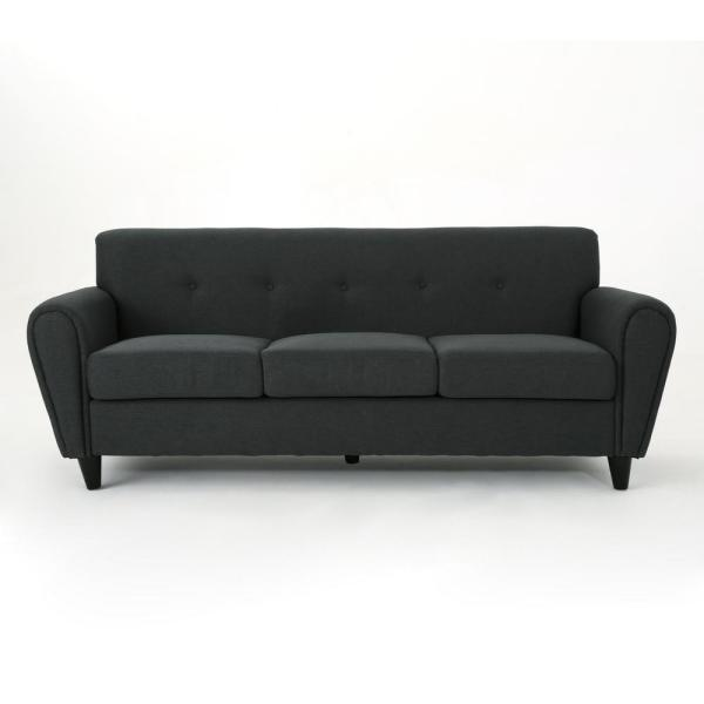 3-Seat Dark Gray Fabric Sofa