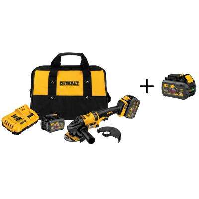 FLEXVOLT 60-Volt MAX Lithium-Ion Cordless Brushless 4-1/2 in. to 6 in. Angle Grinder w/ Batteries 6Ah and Bonus Battery
