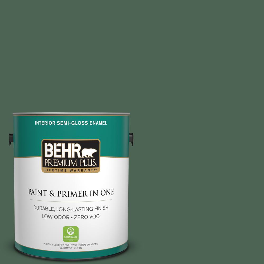 1-gal. #HDC-WR15-11 Deep Emerald Zero VOC Semi-Gloss Enamel Interior Paint