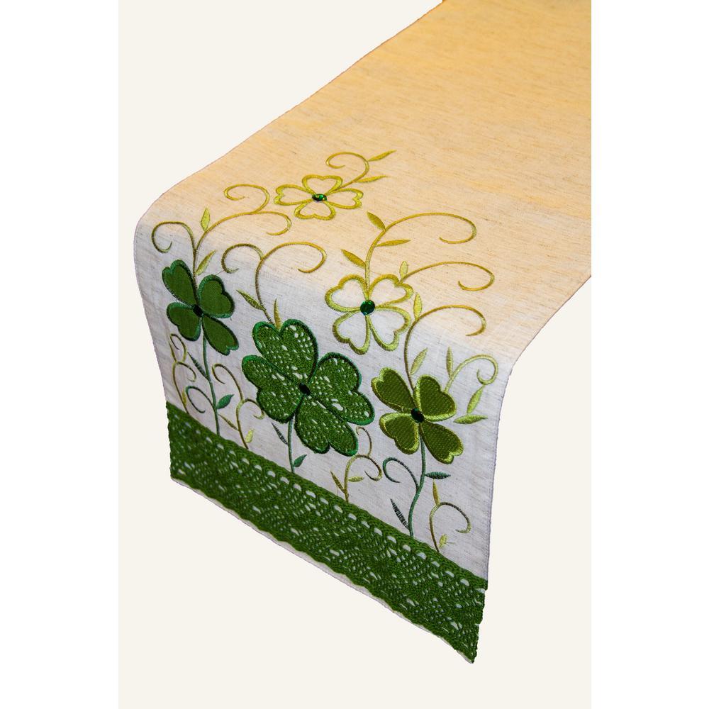 Crochet Clover 100% Polyester Table Runner