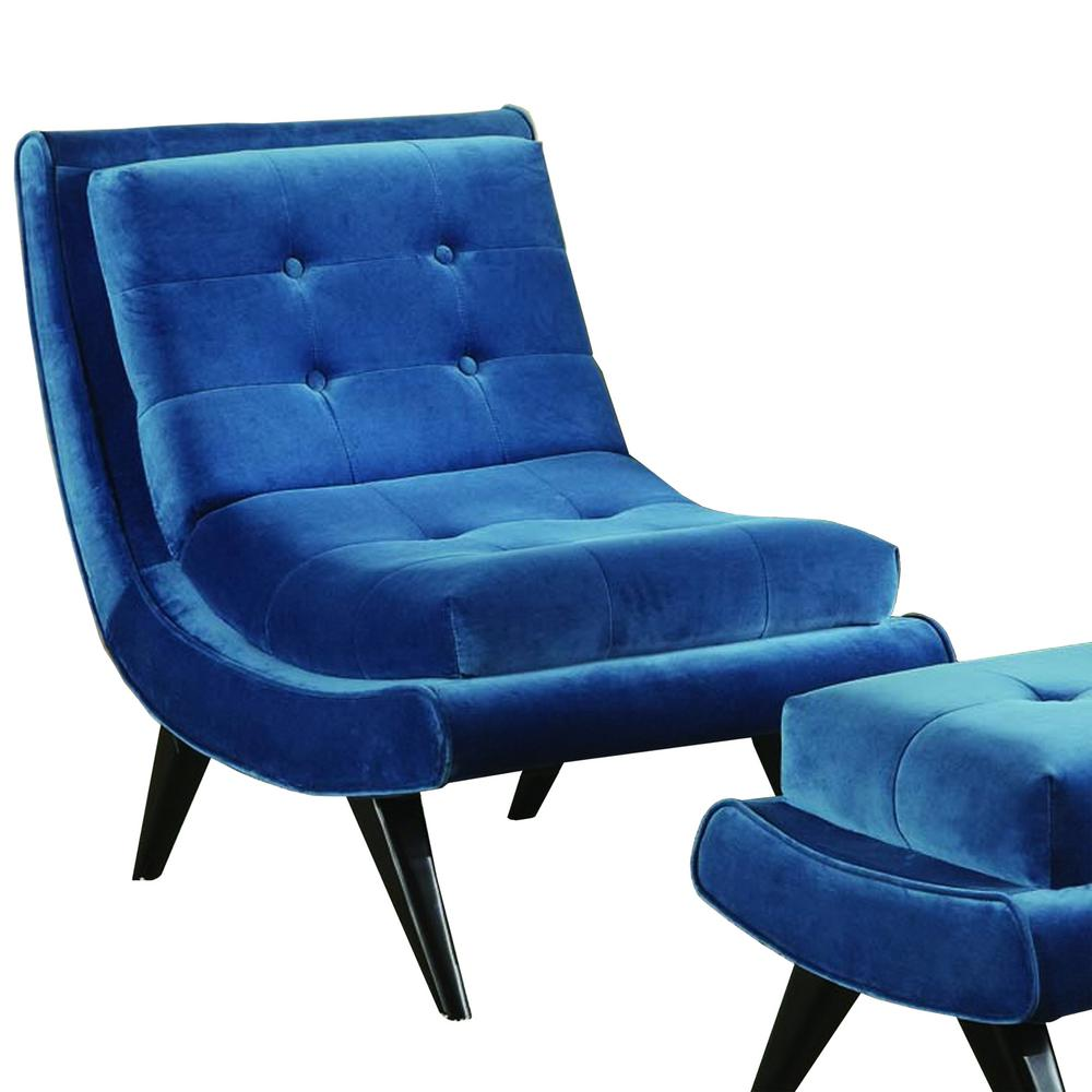 5th Avenue Velvet Cerulean Blue Armless Swayback Lounge Chair