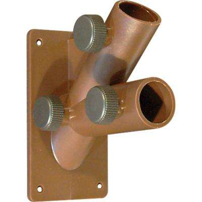 1 in. 2-Position Brown Plastic Flagpole Bracket