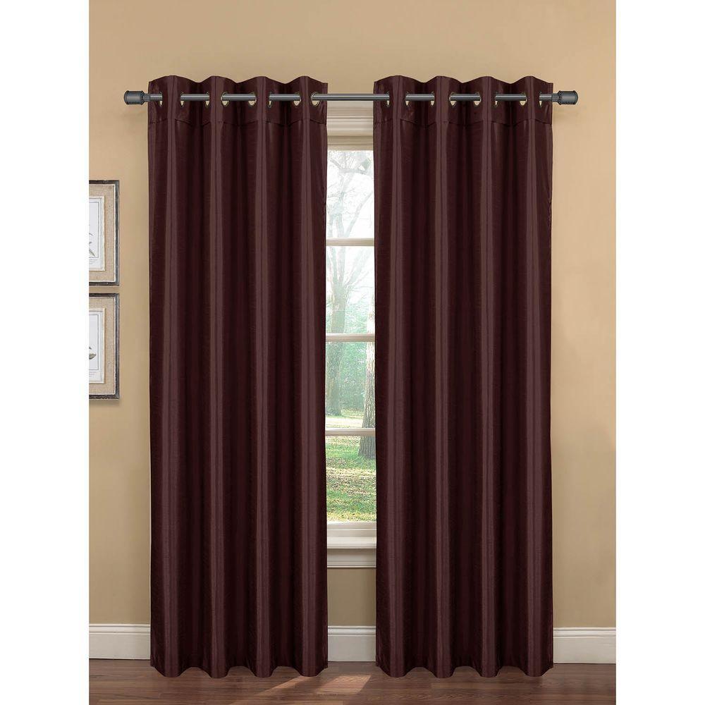 Semi-Opaque Bliss Faux Silk 84 in. L Room Darkening Grommet Curtain