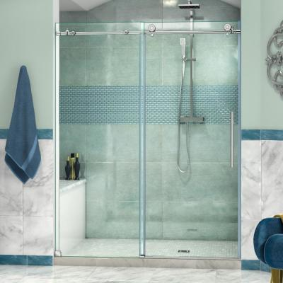 Enigma-X 56 to 60 in. x 76 in. Frameless Sliding Shower Door in Brushed Stainless Steel