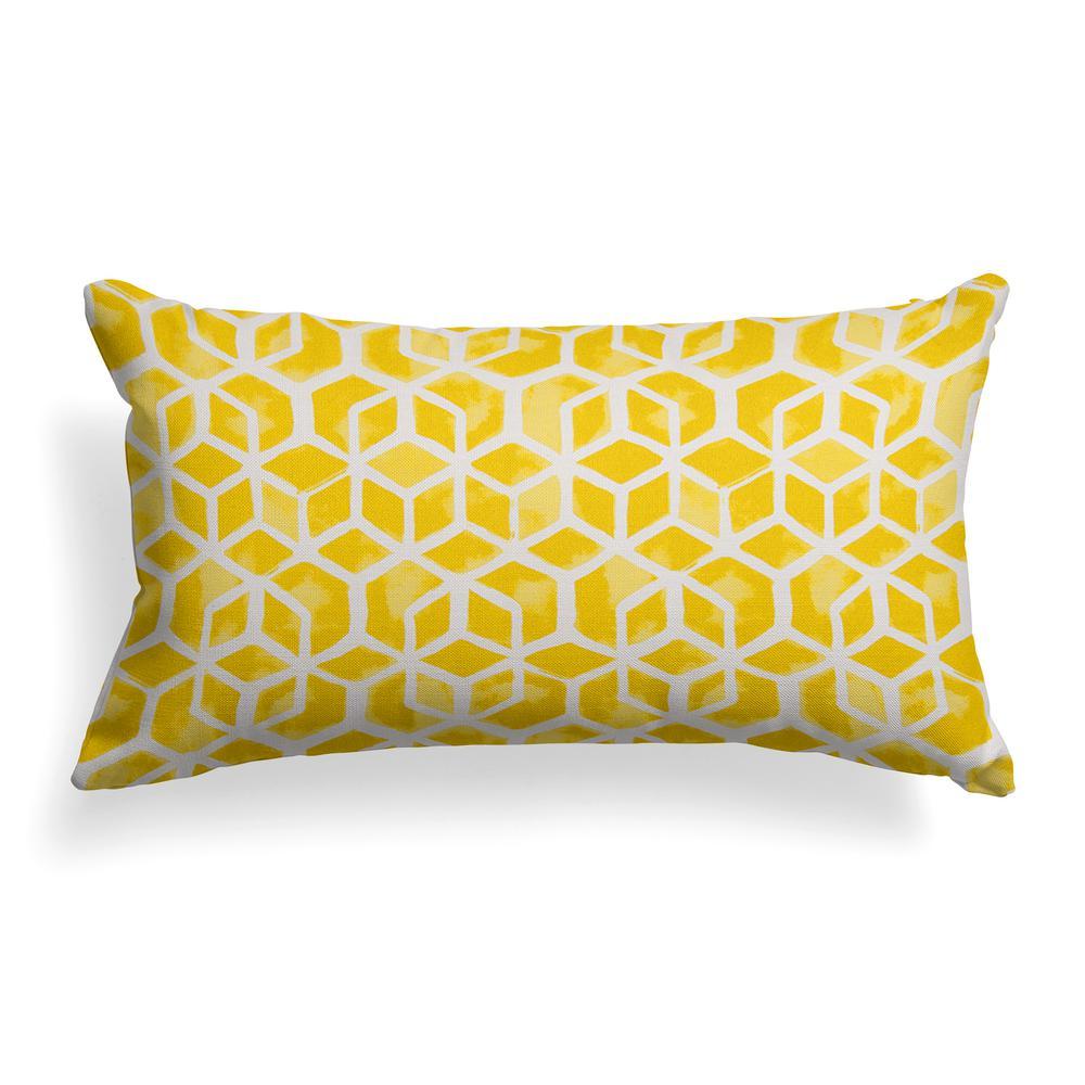Yellow Cubed  Rectangular Outdoor Lumbar Throw Pillow