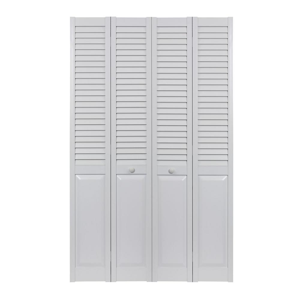 Pinecroft 48 In X 80 In Seabrooke Louver Over Panel White Hollow Core Pvc Vinyl Interior Bi