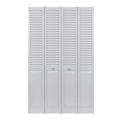 48 in. x 80 in. Seabrooke Louver Over Panel White Hollow Core PVC Vinyl Interior Bi-Fold Door