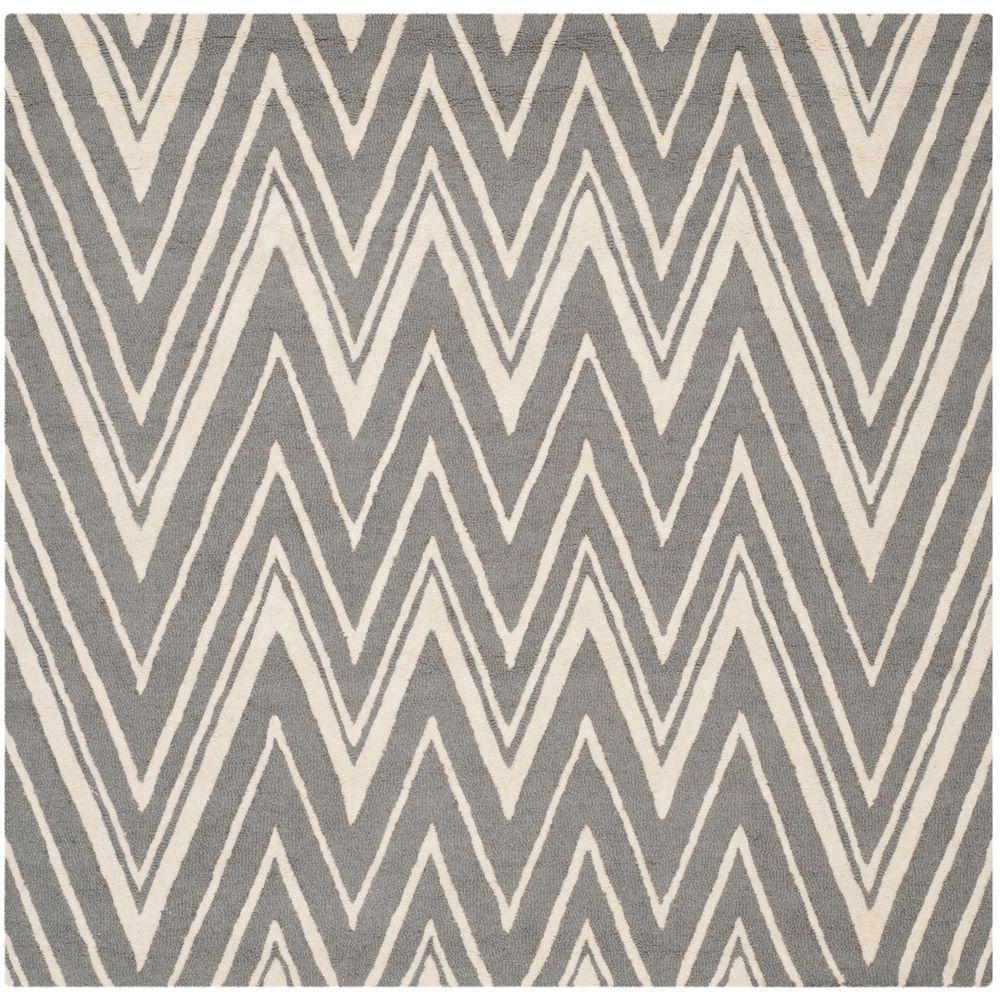 Cambridge Dark Gray/Ivory 8 ft. x 8 ft. Square Area Rug