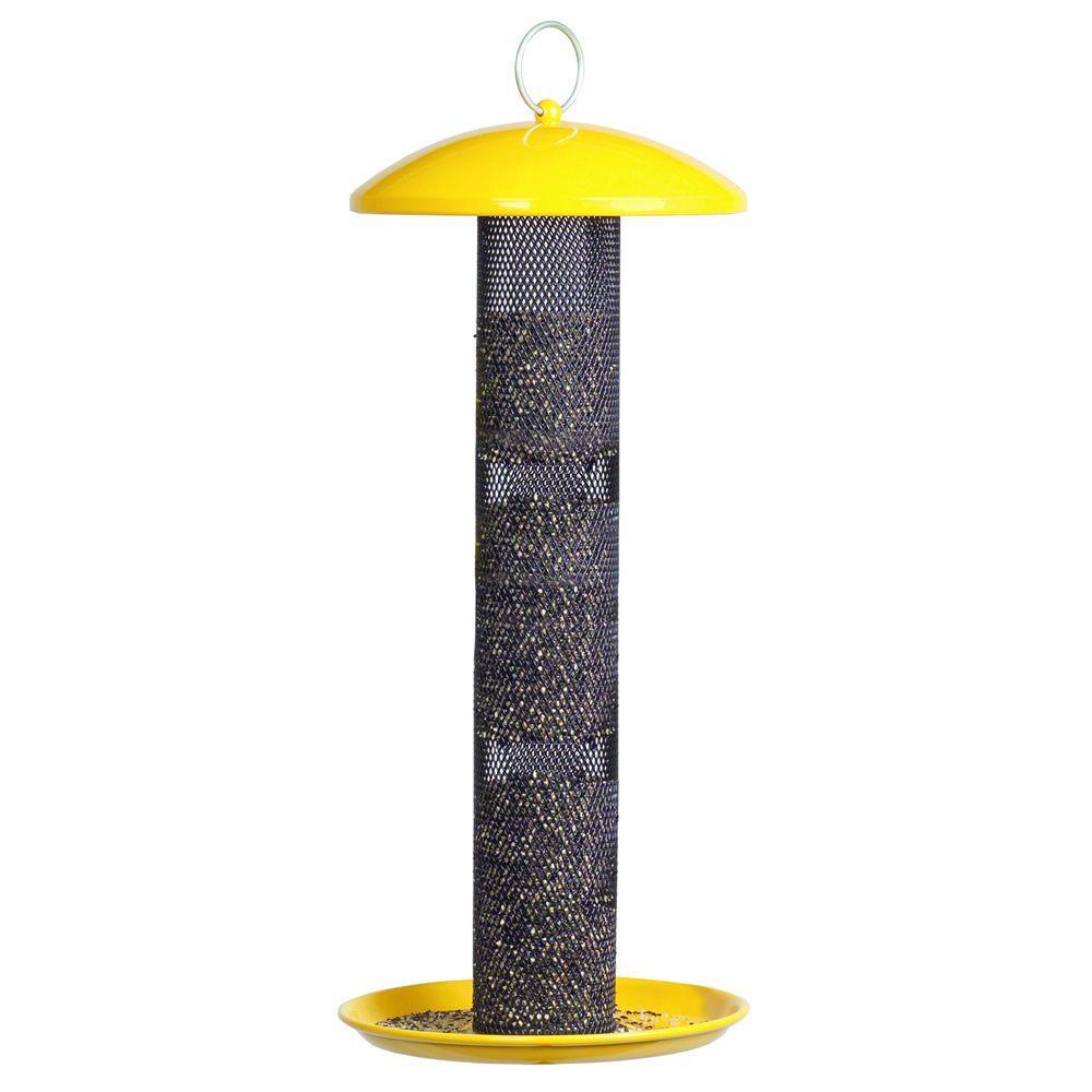 Yellow Straight Sided Finch Tube Hanging Bird Feeder - 1.5 lb. Capacity